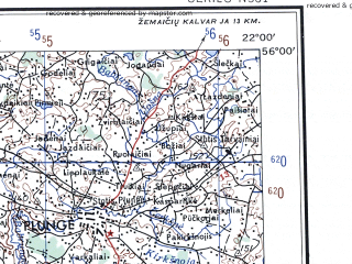 Reduced fragment of topographic map en--ams--250k--nn34-02--(1956)--N056-00_E020-00--N055-00_E022-00; towns and cities Klaipeda, Sovetsk, Kretinga, Shilute, Palanga