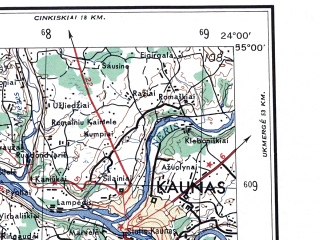 Reduced fragment of topographic map en--ams--250k--nn34-06--(1956)--N055-00_E022-00--N054-00_E024-00; towns and cities Kaunas, Suwalki, Gusev, Kapsukas, Goldap