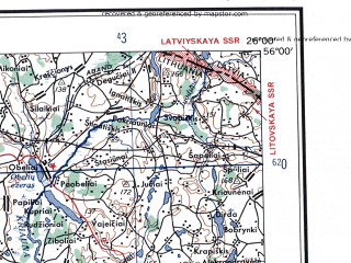 Reduced fragment of topographic map en--ams--250k--nn35-01--(1956)--N056-00_E024-00--N055-00_E026-00; towns and cities Panevezhis, Ukmerge, Ionava, Utena, Rokishkis