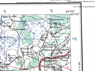 Reduced fragment of topographic map en--ams--250k--nn35-05--(1956)--N055-00_E026-00--N054-00_E028-00 in area of Ozero Naroc; towns and cities Molodechno, Smorgon', Vileyka, Logoysk, Volozhin