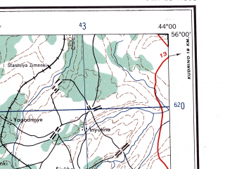 Reduced fragment of topographic map en--ams--250k--nn38-01--(1956)--N056-00_E042-00--N055-00_E044-00; towns and cities Arzamas, Murom, Vyksa, Pavlovo, Kulebaki