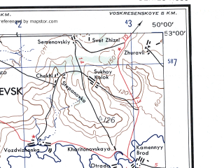Reduced fragment of topographic map en--ams--250k--nn39-10--(1956)--N053-00_E048-00--N052-00_E050-00; towns and cities Chapayevsk, Pugachev, Khvalynsk, Ozerki, Androsovka