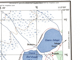 Reduced fragment of topographic map en--ams--250k--nn49-11--(1956)--N053-00_E110-00--N052-00_E112-00 in area of Ozero Bolshoya Eravnoe, Ozero Maloye Eravnoe; towns and cities Sosnovo-ozerskoye, Bulagansk, Isinga, Komsomol'skoye