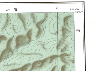 Reduced fragment of topographic map en--ams--250k--nn51-05--(1956)--N055-00_E122-00--N054-00_E124-00; towns and cities Urusha, Khalan, Takhtamygda