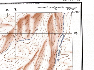 Reduced fragment of topographic map en--ams--250k--nn52-05--(1956)--N055-00_E128-00--N054-00_E130-00; towns and cities Bomnak