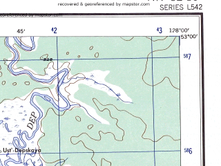 Reduced fragment of topographic map en--ams--250k--nn52-10--(1956)--N053-00_E126-00--N052-00_E128-00; towns and cities Ushumun, Sivaki, Smirnovka, Tu, Ayak