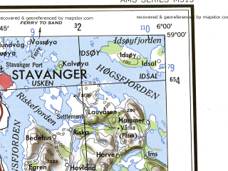 Download topographic map in area of Stavanger Sandnes Bryne