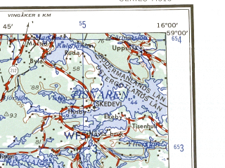 Reduced fragment of topographic map en--ams--250k--no33-05--(1956)--N059-00_E014-00--N058-00_E016-00 in area of Roxen, Unden, Viken; towns and cities Linkoping, Motala, Tranas, Finspang, Mjolby
