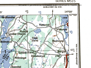 Reduced fragment of topographic map en--ams--250k--no33-10--(1956)--N057-00_E012-00--N056-00_E014-00 in area of Laholmsbukten, Skalderviken, Unnen; towns and cities Helsingborg, Halmstad, Helsingor, Hassleholm, Ljungby