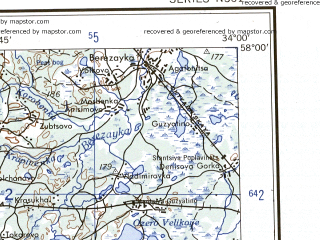 Reduced fragment of topographic map en--ams--250k--no36-08--(1956)--N058-00_E032-00--N057-00_E034-00 in area of Ozero Seliger; towns and cities Ostashkov, Valday, Demyansk, Firovo, Rozhdestvo