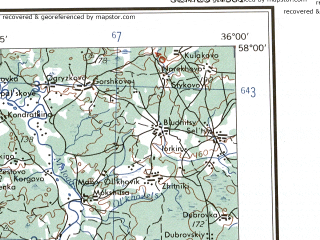Reduced fragment of topographic map en--ams--250k--no36-09--(1956)--N058-00_E034-00--N057-00_E036-00; towns and cities Torzhok, Vyshniy Volochek, Bologoye, Kuvshinovo, Likhoslavl'