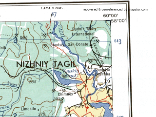 Reduced fragment of topographic map en--ams--250k--no40-09--(1956)--N058-00_E058-00--N057-00_E060-00; towns and cities Nizhniy Tagil, Shalya, Kuzino, Levikha, Visim
