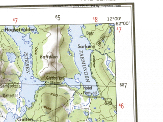 Reduced fragment of topographic map en--ams--250k--np31-12--(1956)--N062-00_E009-30--N061-00_E012-00 in area of Storsjoen, Ossjoen, Solnsjoen; towns and cities Lillehammer, Akre, Otnes, Atnmoen