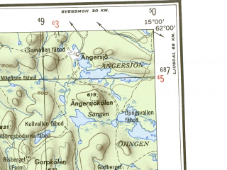 Reduced fragment of topographic map en--ams--250k--np33-09--(1956)--N062-00_E012-00--N061-00_E015-00 in area of Osterdalalven, Osterdalalven, Orsasjon; towns and cities Mora, Orsa, Market, Trysil, Alvdalen