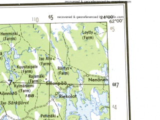 Reduced fragment of topographic map en--ams--250k--np33-12--(1956)--N062-00_E021-00--N061-00_E024-00 in area of Kokemaenjoki, Kyrosjarvi, Isojarvi; towns and cities Tampere, Pori, Nokia, Rauma, Kankaanpaa