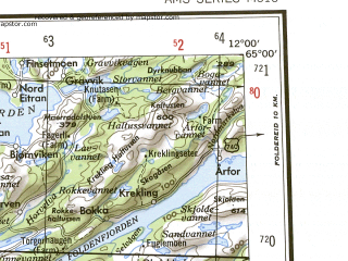 Download topographic map in area of Steinkjer Namsos Rorvik