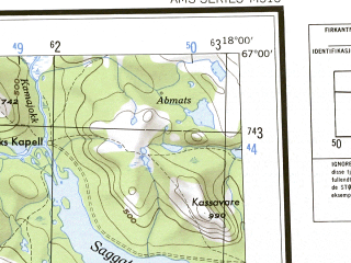 Reduced fragment of topographic map en--ams--250k--nq33-06--(1956)--N067-00_E015-00--N066-00_E018-00 in area of Tjeggelvas, Riebnesjaure, Balvatnet; towns and cities Vasterfjall, Vuoggatjalme, Arjeplog