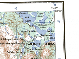 Reduced fragment of topographic map en--ams--250k--nq35-03--(1956)--N068-00_E030-00--N067-00_E033-00; towns and cities Monchegorsk, Kandalaksha, Kovdor, Afrikanda, Nivastroy