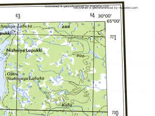 Reduced fragment of topographic map en--ams--250k--nq35-14--(1956)--N065-00_E027-00--N064-00_E030-00 in area of Nuasjarvi, Ontojarvi, Lentua; towns and cities Kajaani, Kuhmo, Puolanka, Ristijarvi, Ammansaari