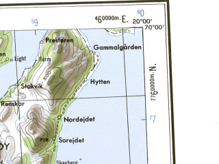 Reduced fragment of topographic map en--ams--250k--nr33-08--(1956)--N070-00_E016-00--N069-00_E020-00 in area of Takvatnet; towns and cities Tromso, Finnkrokan, Tonsvik, Finnsnes