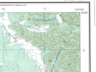 Reduced fragment of topographic map en--ams--250k--sa48-13--(1956)--S003-00_E102-00--S004-00_E103-30; towns and cities Seangit, Bingjai, Trawas