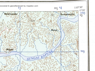 Reduced fragment of topographic map en--ams--250k--sa49-02--(1956)--N000-00_E109-00--S001-00_E110-30; towns and cities Pontianak, Kertamulia, Kubu, Sungaipinang