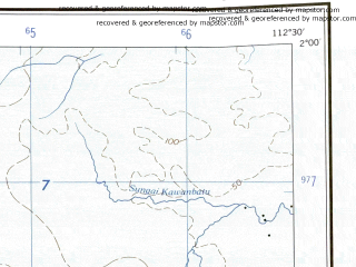 Reduced fragment of topographic map en--ams--250k--sa49-11--(1956)--S002-00_E111-00--S003-00_E112-30 in area of D Sembulu; towns and cities Kotawaringin, Pembuang, Sabui