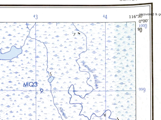 Reduced fragment of topographic map en--ams--250k--sa50-02--(1956)--N000-00_E115-00--S001-00_E116-30 in area of D Jempang, D Melintau; towns and cities Mujup, Benanga, Namis