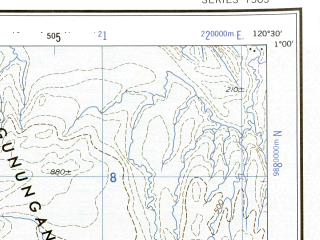 Reduced fragment of topographic map en--ams--250k--sa50-08--(1956)--S001-00_E119-00--S002-00_E120-30; towns and cities Nunu, Sibawi, Pada