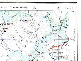Reduced fragment of topographic map en--ams--250k--sa50-09--(1956)--S002-00_E114-00--S003-00_E115-30 in area of Negara; towns and cities Marabahan, Kaladan, Mentangaik