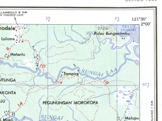 Reduced fragment of topographic map en--ams--250k--sa51-09--(1956)--S002-00_E120-00--S003-00_E121-30 in area of D Matana; towns and cities Labase, Pongko, Landangi