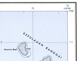 Reduced fragment of topographic map en--ams--250k--sa51-10--(1956)--S002-00_E121-30--S003-00_E123-00; towns and cities Bahomotefe, Bahusuai, Parutuliang