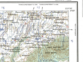 Reduced fragment of topographic map en--ams--250k--sb48-01--(1956)--S004-00_E102-00--S005-00_E103-30; towns and cities Lubuklintang, Pagaragung, Pasartalo