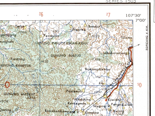 Reduced fragment of topographic map en--ams--250k--sb48-16--(1956)--S007-00_E106-00--S008-00_E107-30; towns and cities Tjibogo, Babadan, Tjikaret