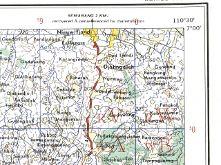 Reduced fragment of topographic map en--ams--250k--sb49-14--(1956)--S007-00_E109-00--S008-00_E110-30; towns and cities Kubumen, Yogyakarta, Muntung, Sleman, Adjibarang