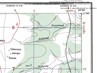 Reduced fragment of topographic map en--ams--250k--sc35-13--(1956)--S011-00_E024-00--S012-00_E025-30; towns and cities Kalene Hill Mission, Tshipalama, Kamapanda Mission
