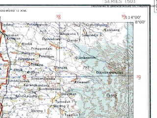 Reduced fragment of topographic map en--ams--250k--sc49-04--(1956)--S008-00_E112-30--S009-00_E114-00; towns and cities Tanggul, Turen, Ambulu
