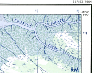 Reduced fragment of topographic map en--ams--250k--sc53-04--(1956)--S008-00_E136-30--S009-00_E138-00; towns and cities Konerau, Sabon, Wan