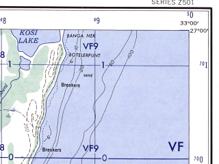 Reduced fragment of topographic map en--ams--250k--sg36-14--(1956)--S027-00_E031-30--S028-00_E033-00 in area of Sibayameer, Pongolapoort Dam
