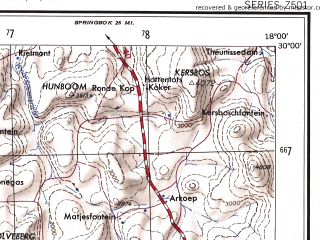 Reduced fragment of topographic map en--ams--250k--sh33-12--(1956)--S030-00_E016-30--S031-00_E018-00 in area of Groen; towns and cities Kamieskroon