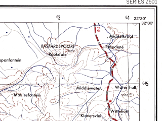 Reduced fragment of topographic map en--ams--250k--si34-03--(1956)--S032-00_E021-00--S033-00_E022-30 in area of Leeuw, Leeugamka Dam; towns and cities Merweville