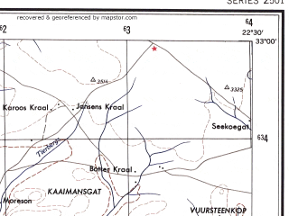 Reduced fragment of topographic map en--ams--250k--si34-07--(1956)--S033-00_E021-00--S034-00_E022-30 in area of Groot, Kamanassie Dam, Gamkapoort Dam