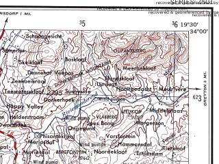 Reduced fragment of topographic map en--ams--250k--si34-09--(1956)--S034-00_E018-00--S035-00_E019-30 in area of Valsbaai, Walkerbaai; towns and cities Kommetjie