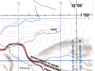 Reduced fragment of topographic map en--jog--250k--na17-16--(1990)--N001-00_W079-30--N000-00_W078-00 in area of Rio Esmeraldas, Rio Mira; towns and cities Ibarra, Salinas, Iluman, San Francisco De Onzole