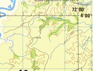 Reduced fragment of topographic map en--jog--250k--na18-04--(1992)--N004-00_W073-30--N003-00_W072-00; towns and cities San Carlos De Guaroa, San Jorge, El Amparo