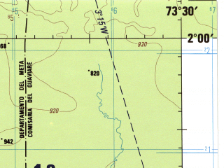 Reduced fragment of topographic map en--jog--250k--na18-11--(1992)--N002-00_W075-00--N001-00_W073-30 in area of Lago Chaira; towns and cities Candilejas, El Guio, La Tolda