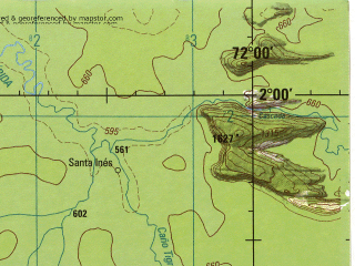 Reduced fragment of topographic map en--jog--250k--na18-12--(1992)--N002-00_W073-30--N001-00_W072-00; towns and cities Las Brisas, Puerto Palermo, Santa Inez