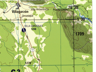 Reduced fragment of topographic map en--jog--250k--na18-13--(1990)--N001-00_W078-00--N000-00_W076-30 in area of Rio Aguarico; towns and cities Ipiales, Tulcan, La Bonita, Orito, Puerto Asis