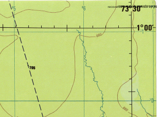 Reduced fragment of topographic map en--jog--250k--na18-15--(1992)--N001-00_W075-00--N000-00_W073-30; towns and cities Las Delicias, Matapalo, Bolivia