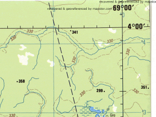 Reduced fragment of topographic map en--jog--250k--na19-02--(1992)--N004-00_W070-30--N003-00_W069-00; towns and cities Arrecifal, Cumaral, Guaco
